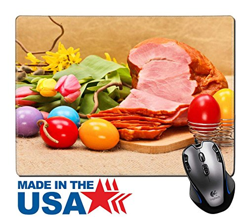 """MSD Natural Rubber Mouse Pad/Mat with Stitched Edges 9.8"""" x 7.9"""" Boiled ham painted Easter eggs and tulips on rustic table IMAGE 26899904"""