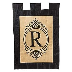 Evergreen Sub Burlap Garden Flag - Monogram R