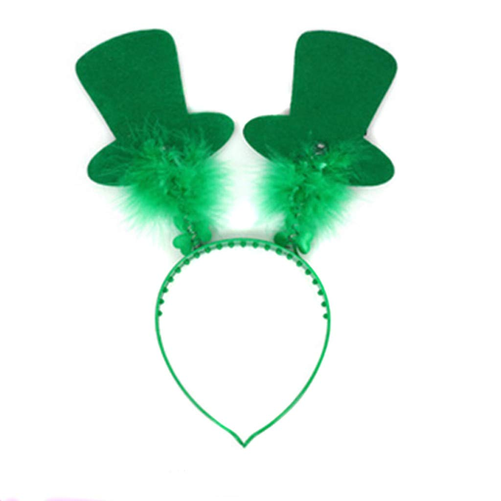 St. Patrick's Day Feather Headband Green Irish Decorations Headband for Festival Party Adults Teens Kids☘ (12X26CM)