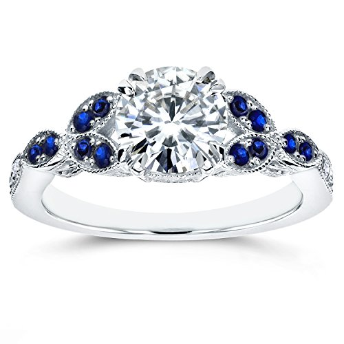(Antique Moissanite and Blue Sapphire Engagement Ring with Diamond Accents 1 1/5 CTW 14k White Gold, Size 7)