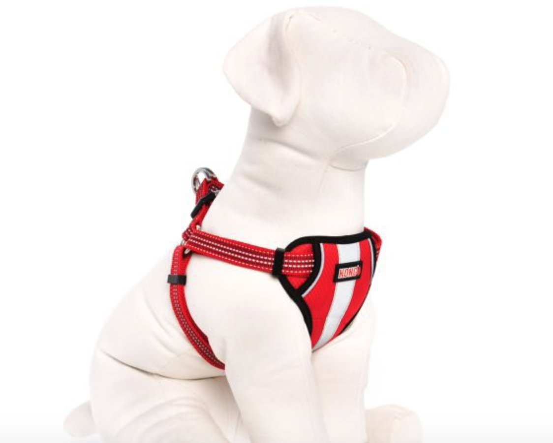 KONG Comfort Padded Reflective Chest Plate Dog Harness by Barker Brands Inc. (XL, Red)