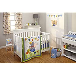 Disney Dumbo 3 Piece Crib Bedding Set, Green/Blue
