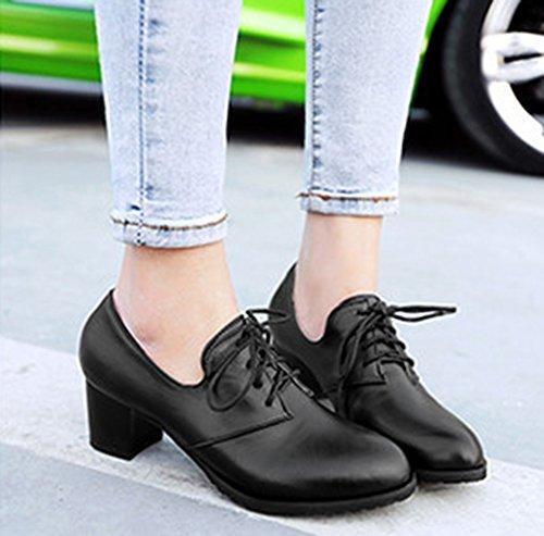 Aisun Femme Rétro Chaussures de ville à Lacets Talon Carré Escarpins Noir RfKbmE