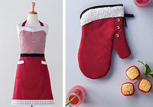 Fa La La Red Classic Full Apron and Oven Glove set by Ladelle
