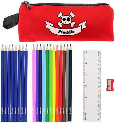 Kiddiewinkle - Estuche Personalizado con diseño de Calaveras Rojas y lápices de Regalos para la Escuela, Estuches de lápices para niños, lápices Personalizados para niños: Amazon.es: Hogar