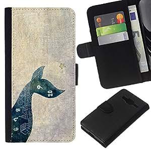KLONGSHOP // Tirón de la caja Cartera de cuero con ranuras para tarjetas - Matemáticas perro de mascota minimalista - Samsung Galaxy Core Prime //