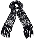 MTFS Winter Warm Scarf Reindeer Snowflake Knit Scarf Lovely Christmas Scarf (A# - Black)