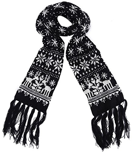 MTFS Winter Warm Scarf Reindeer Snowflake Knit Scarf Lovely Christmas Scarf (A# - Black) by MTFS