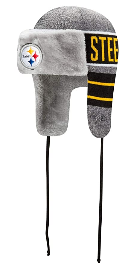 a3bd00880 Image Unavailable. Image not available for. Color  New Era Pittsburgh  Steelers NFL Frosty Trapper Fur Lined Knit Hat