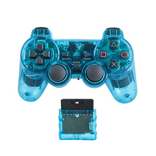 Saloke Wireless Gaming Controller for Ps2 Double Shock (Clear (Usb Force Feedback Joystick)