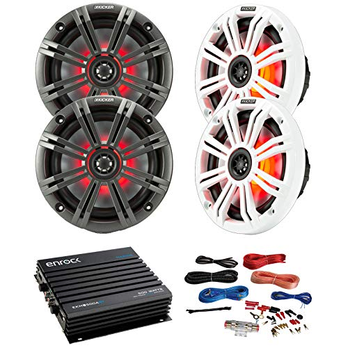 (4 x Kicker 45KM654L 6.5 Inch KM-Series LED Marine Speakers Combo Bundle with Enrock EKMB500ABT 400W 4-Channel Marine Car Bluetooth Amplifier + Pyle PLMRAKT8 8 Gauge Marine Amplifier Installation Kit)
