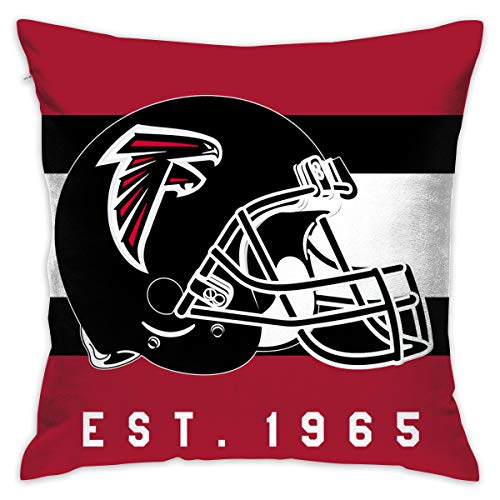Gdcover Custom Stripe Atlanta Falcons Pillow Covers Standard Size Throw Pillow Cases Decorative Cotton Pillowcase Protecter Zipper - 18x18 Inches