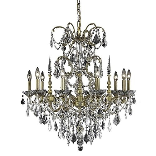 Elegant Lighting 9710D30FG/SS Athena Collection 10-Light Hanging Fixture with Swarovski Spectra Crystals, Gold Finish
