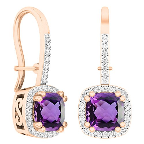 - Dazzlingrock Collection 10K 6 MM Each Cushion Amethyst & Round White Diamond Ladies Dangling Drop Earrings, Rose Gold