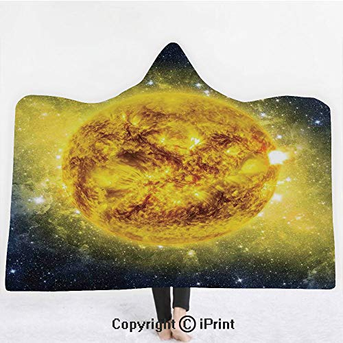 """Galaxy 3D Print Soft Hooded Blanket Boys Girls Premium Throw Blanket,Panorama of Sun in Space with Luminous Effects Dynamic Center of Solar System Print,Lightweight Microfiber(Kids 50""""x60"""")Yellow Blue"""