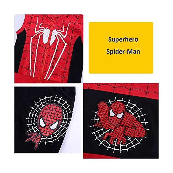 Set di Abbigliamento Bambini Completino Spiderman Maniche Lunghe Tute Ragazze Felpa con Cappuccio Camicie e Pantaloni… 7