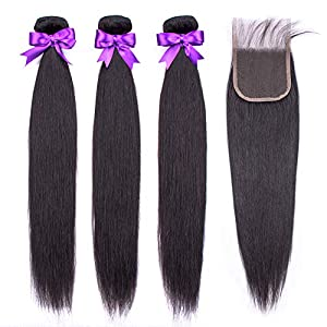 Beaudiva Hair Brazilian Virgin Straight Human Hair with Lace Closure (16 18 18+14inch, Natural Black) 8A 100…