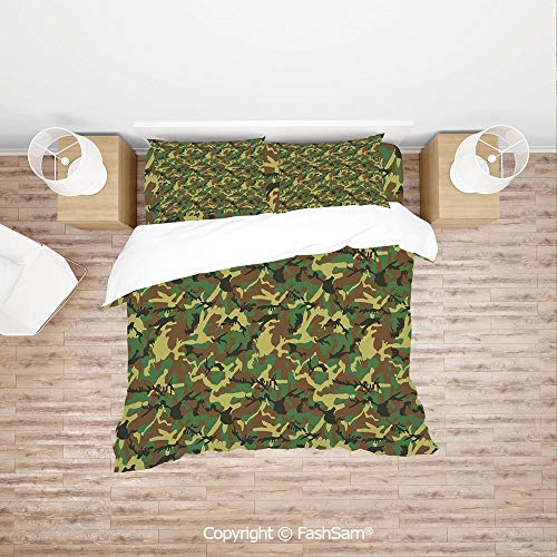 FashSam Luxury 4 Pieces Duvet Cover Bedding Set Woodland Camouflage Pattern Abstract Army Force Hiding in Jungle for Family(Single) ()