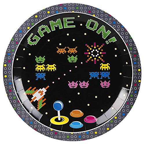 80s Arcade Party Plates - 80-Pack Gaming Themed 9-Inch Disposable Paper Plates, Round Plates for Lunch, Appetizer, Dessert, Game On Birthday Party Supplies -