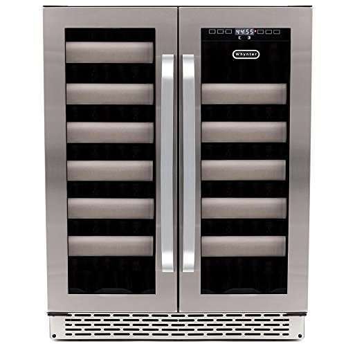 Whynter BWR-401DA Elite 40 Bottle Seamless Door Dual Zone Built-in Wine Refrigerator, Stainless Steel (Built In French Door Refrigerator)