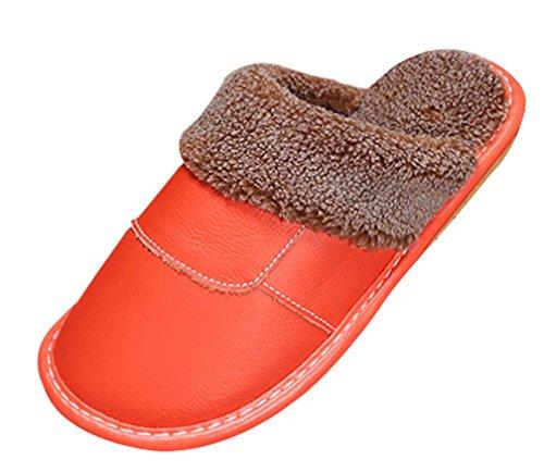 Cattior Dames Warme Slaapkamer Pantoffels Leren Slippers Oranje
