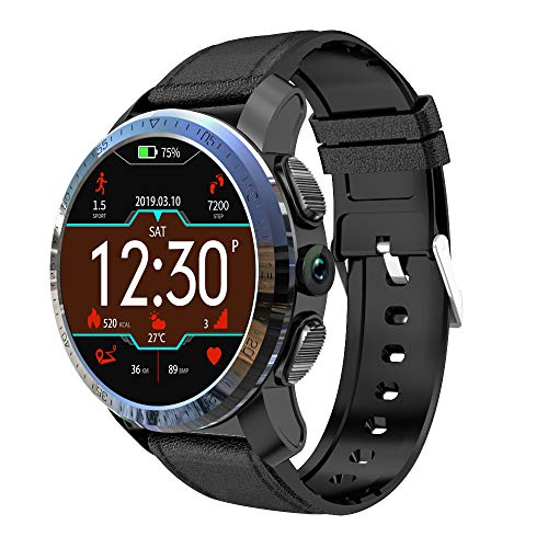 ZMCY Kospet Optimus Pro Smart Watch, 3GB RAM 32GB ROM WiFi GPS Android 7.1.1 MTK6739 1.25GHZ 8.0MP Camera Sport Management Water Proof Heart Rate Monitor for Android and iOS,BlackSiliconeLeather (Best Sports Management Games Ios)
