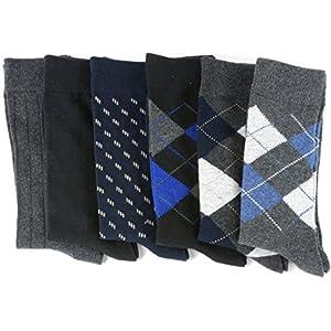 Alpine Swiss Men's Cotton 6 Pack Dress Socks Solid Ribbed Argyle Shoe Size 6-12 Multicolor