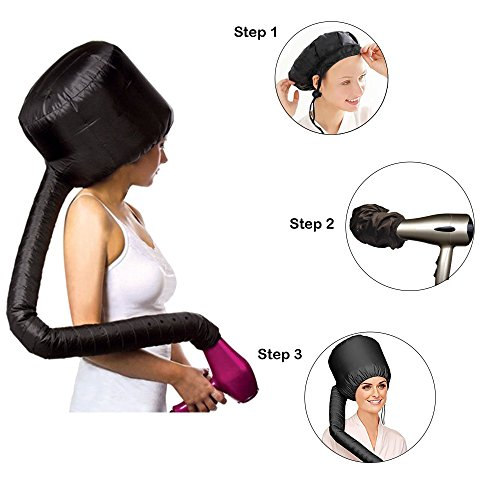 Hair Dryer Bonnet Attachment, SXG Hair Salon Dryer Bonnet Safe hood Hair Heat Cap Home hair dryer bonnet -Black by SXG (Image #3)