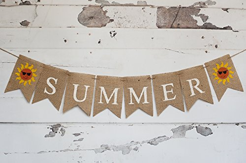 Sunny Summer Burlap Banner with a Sun, Seasons - Summer Sunnies