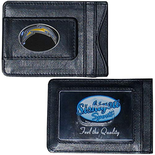 (NFL San Diego Chargers Credit Card Holder 4', Leather Money Clip Sports American Football Themed Fan Merchandise Los Angeles Chargers Team Logo Spirit Magnetic Black)