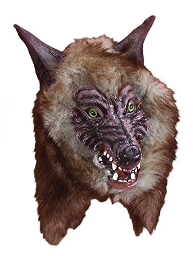 Star Power Large Realistic Fur Wolf Werewolf Mask, Brown, One (Realistic Wolf Mask)