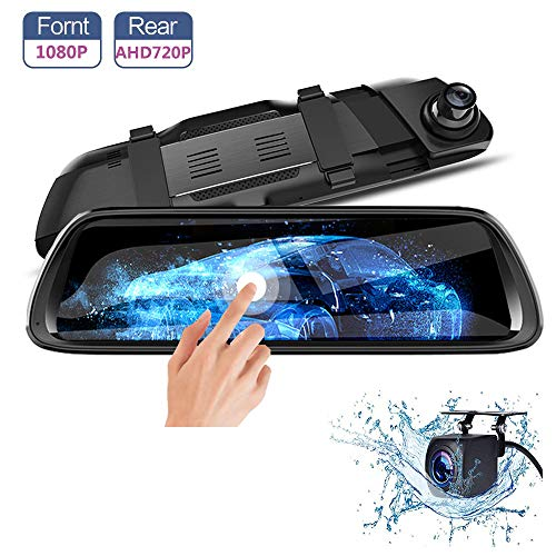 Mirror Dash Cam 9.66 Bakcup Camera IPS Touch Screen, 1080P Full HD 170 Front 140 AHD 720P Rear View Mirror Cam G-Sensor WDR Starlight Night Vision, Loop Recording Dash Camera