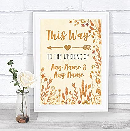 Cartel de boda personalizable con diseño de hojas de otoño ...
