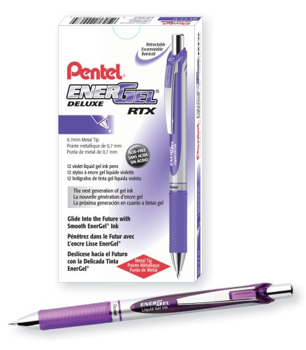Pentel EnerGel Deluxe RTX Gel Ink Pen, 0.7 Millimeter Metal Tip, Violet Ink, Box of 12 (BL77-V)