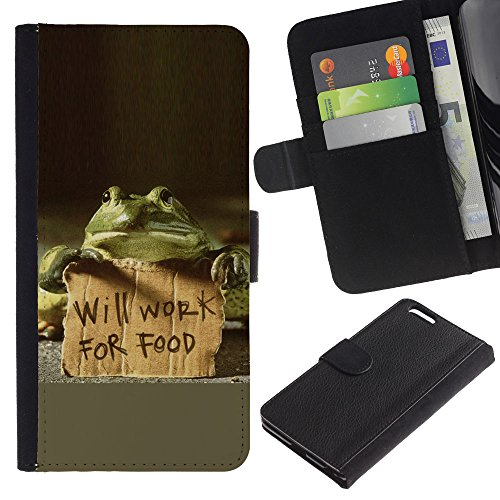 EuroCase - Apple Iphone 6 PLUS 5.5 - Funny Will Work For Food Frog - Cuir PU Coverture Shell Armure Coque Coq Cas Etui Housse Case Cover