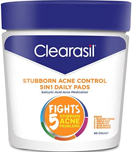 Clearasil Stubborn Acne Control 5in1 Daily Facial Cleansing Pads, 90 Count (Packaging may vary)