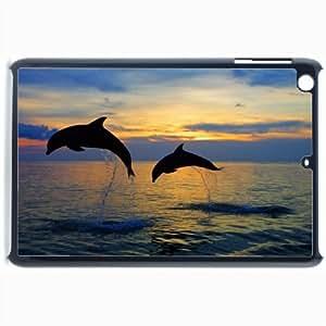 Customized Back Cover Case For iPad Mini 2 Hardshell Case, Black Back Cover Design Dolphin Personalized Unique Case For iPad Mini 2