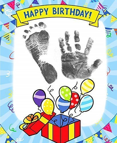 ReignDropBaby's Baby Footprints Cards Making Kit with Ink Pad - Balloons Birthday Cards (Occasions Card Making Kit)