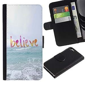 LASTONE PHONE CASE / Lujo Billetera de Cuero Caso del tirón Titular de la tarjeta Flip Carcasa Funda para Apple Iphone 5 / 5S / believe god sun sea beach summer text