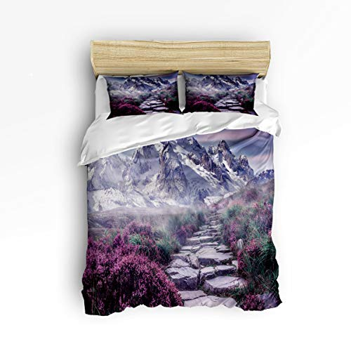 3 Piece Polyester Fabric Bedding Set with Zipper Closure Full Size, Ridge Stone Road Dreamlike Scenery Comforter Cover Set Duvet Cover with 2 Pillow Shams for Girls/Boys/Kids/Children/Teen/Adults ()