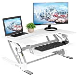 VIVO White Height Adjustable 36 inch Stand up