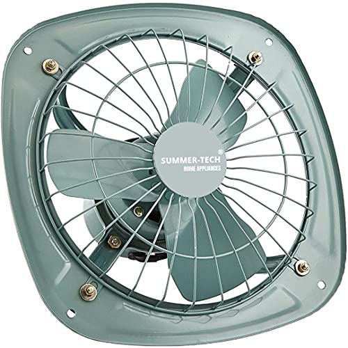 SummerTech® – Exhaust Fan (Size- 12 inch~300 mm) ISI Certified, For Kitchen, Bathroom, High Speed,Copper Winding, Noise Free, 2400 RPM, Double Ball Bearing, Ventilation Fan (Grey) Indian