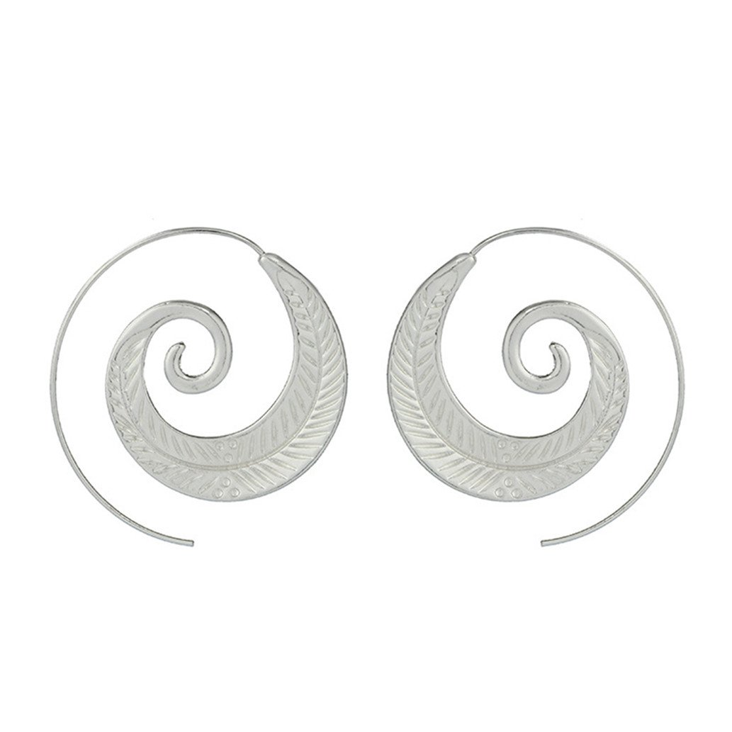 KISSFRIDAY Handmade Silvery Leaf Spiral earrings for Women or Girl Jewelry Gifts