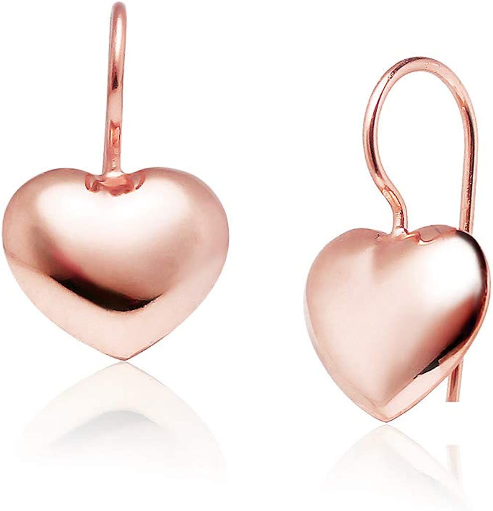 Big Apple Hoops - Hollow Puffed Heart Drop Dangle Lightweight Earrings Made from Real Solid 925 Sterling Silver in 2 Color Shiny Polished Gold or Rose Unique Design Fashion Gift for Women, Teens, Men