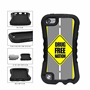 Drug Free Nation 2-Piece Dual Layer Phone Case Back Cover iPod 5 includes BleuReign(TM) Cloth and Warranty Label