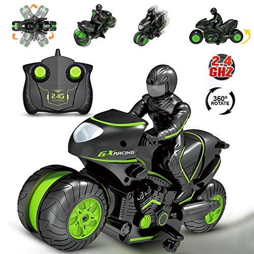 Rc Motorcycle Remote Control Motorcycles , 360° Spinning Action Rotating Drift Stunt Motorbike 2WD High Speed Rc Motorbikes 2.4Ghz Radio Control Racing Motorcyle With Riding Figure Toys for Kids Boys
