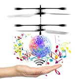 RC Flying Ball, OWIKAR Infrared Induction Helicopter Ball with Rainbow Shinning LED Flashing Lighting Built in Disco Music Mini Flying Ball Toy for Kids, Boys and Girls