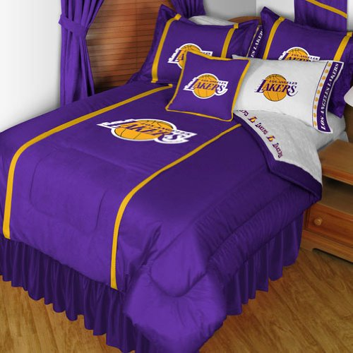 NBA Los Angeles Lakers Full Sidelines Bed Comforter - Jersey Full Bed Sidelines