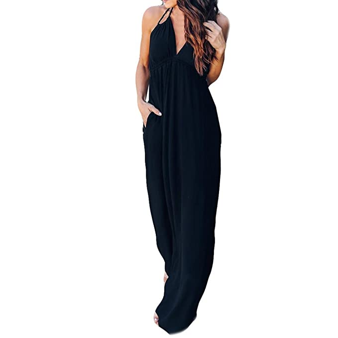 Longra Damen Kleider Elegante Abendkleider Cocktailkleid V Ausschnitt Sommerkleider  Lang Träger Rückenfreies Kleider Damen High Waist 9b4a548079