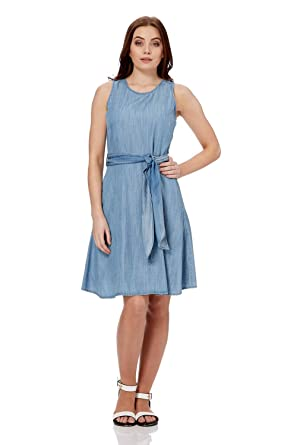 3e7818cae3d Roman Originals Women s Blue Denim Skater Dress with Pockets at Amazon  Women s Clothing store
